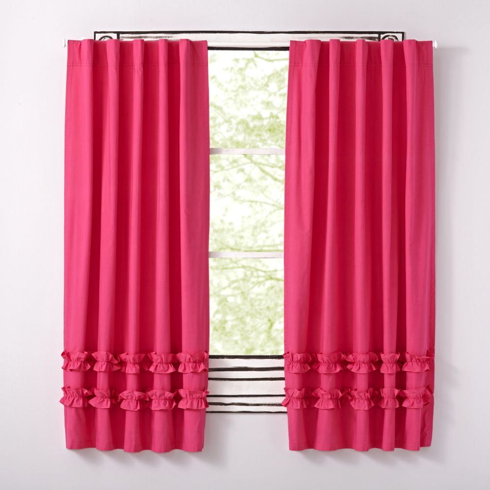 Pink Ruffle Curtain | The Land of Nod