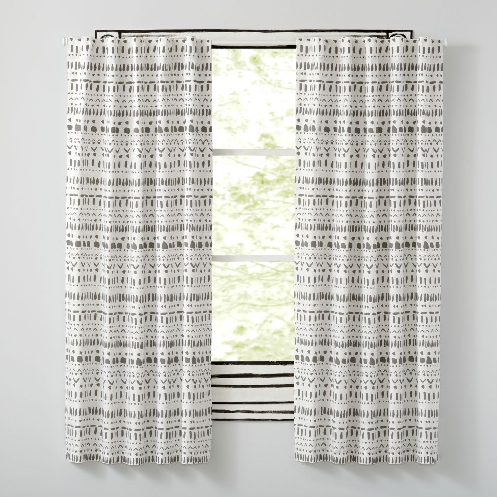 Gray and white polka dot curtains - Organic Wild Excursion Grey Curtains