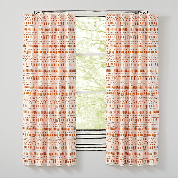 "Organic Wild Excursion Orange 63"" Curtain"