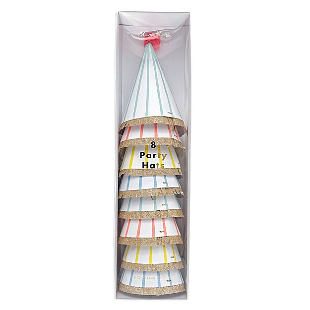 Bright Stripe Party Hats (Set of 8)