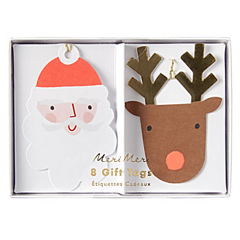 Santa Reindeer Gift Tags (Set of 8)