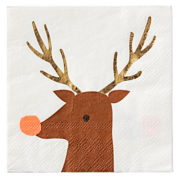 Small Reindeer Napkins (Set of 16)
