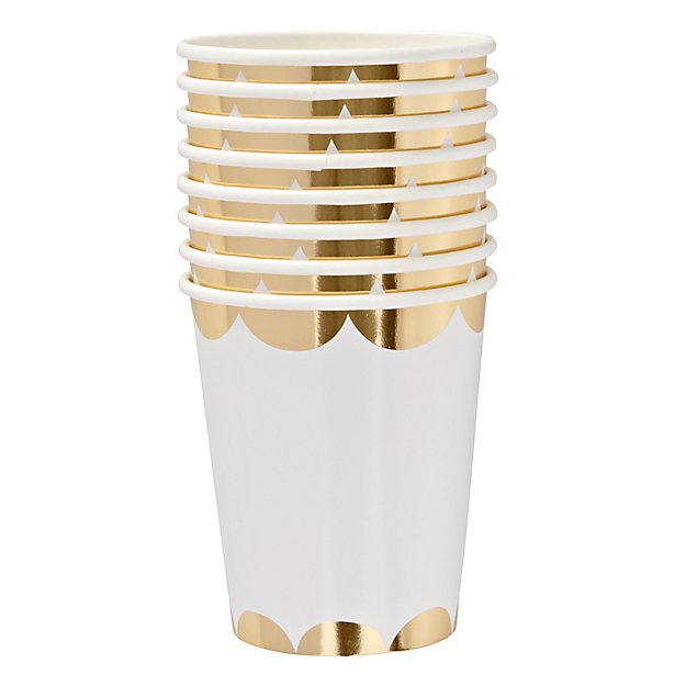 Set of 8 Scallop Party Cups (Gold)