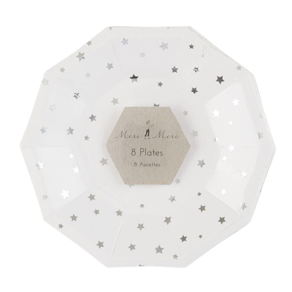 Toot Sweet Silver Star Party Plates (Small)