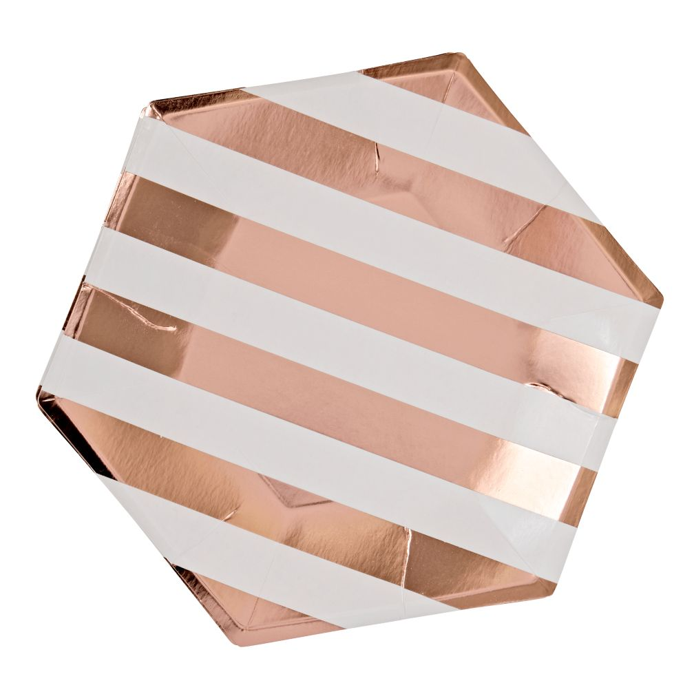 Meri Meri Rose Gold Striped Plates Set Of 8 The Land