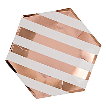 Set of 8 Stripe Large Plates (Rose Gold)