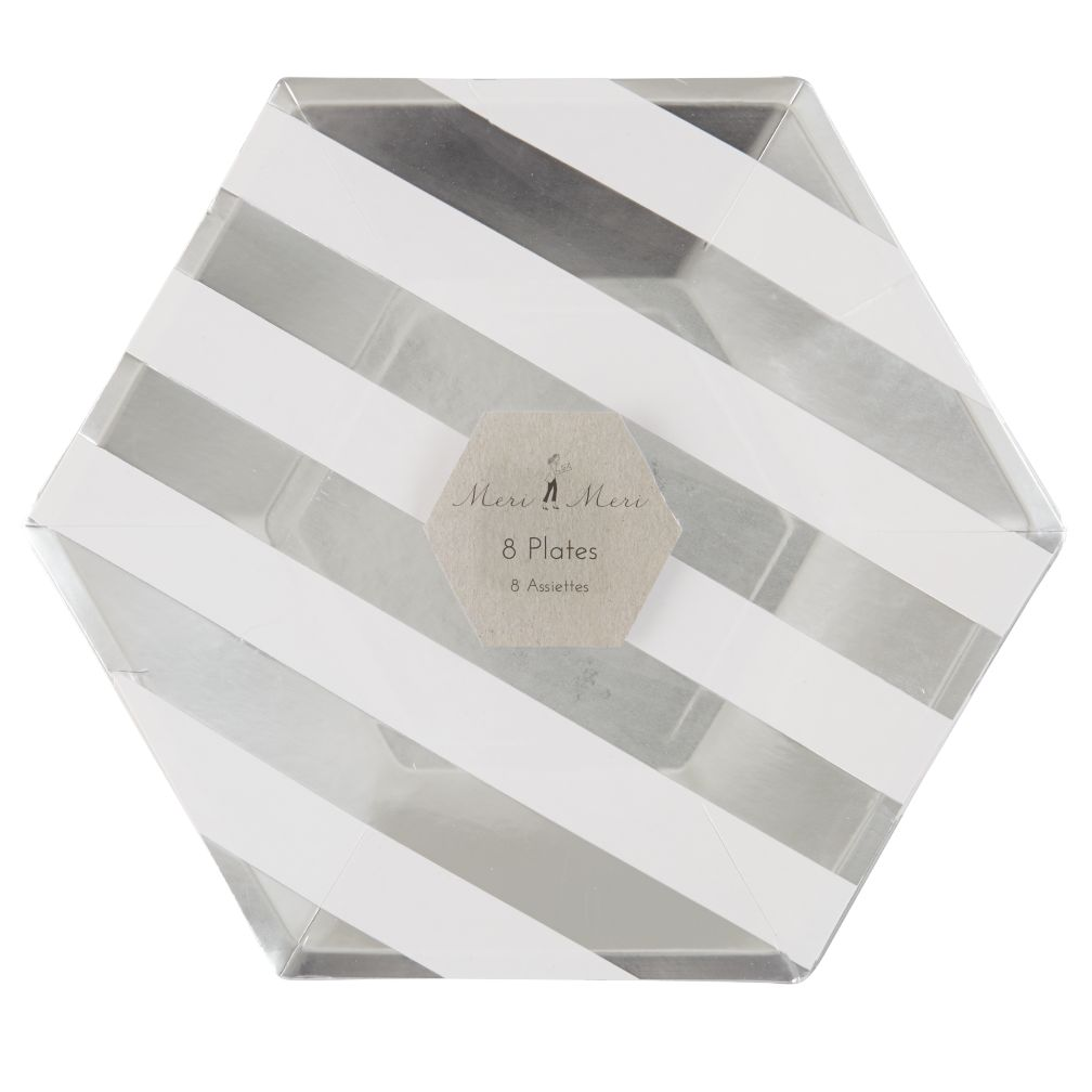 Toot Sweet Silver Stripe Party Plates (Large)