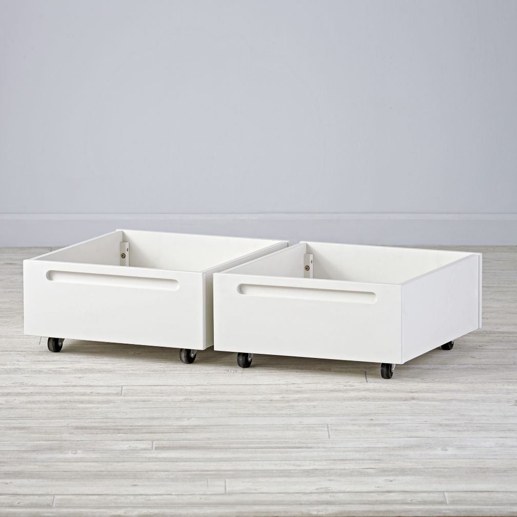 Set of 2 Adjustable White Activity Table Bins