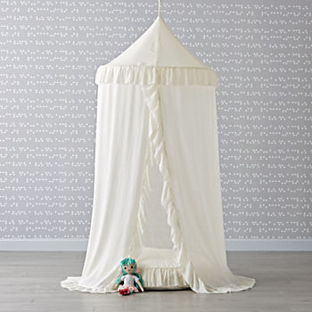 White Ruffle Playhouse Canopy and Cushion Set