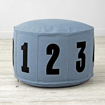 Blue Block Numbered Pouf