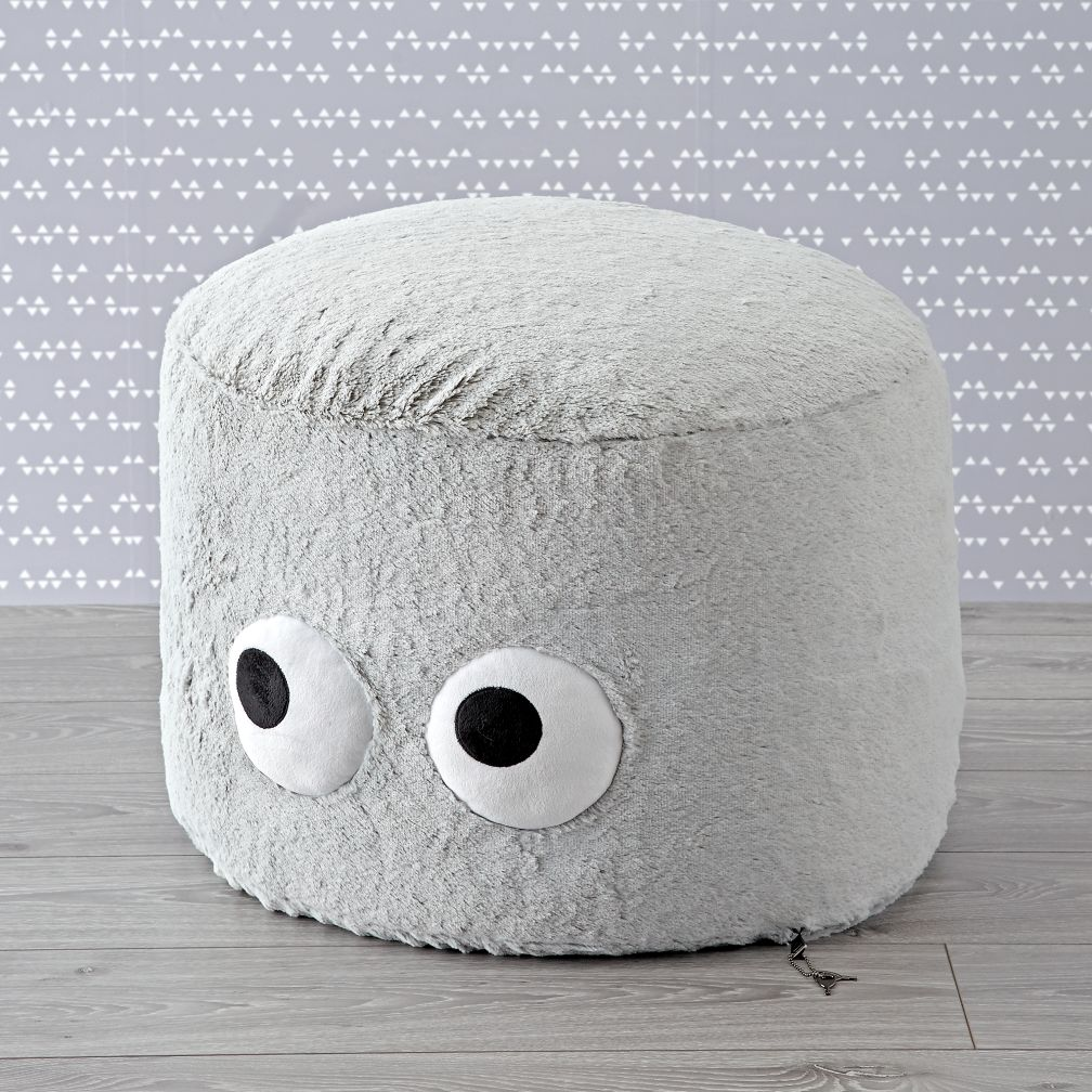 Furry Googly Eyes Pouf