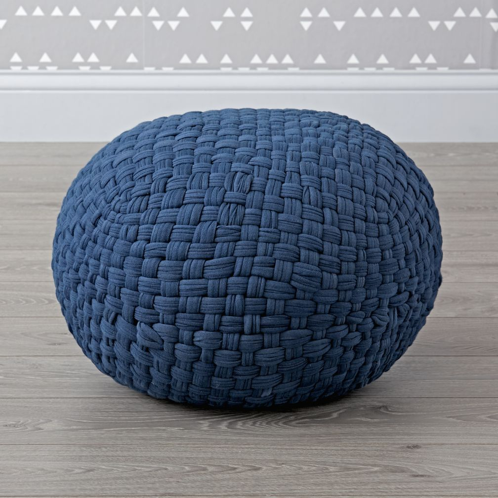 woven jersey navy pouf the land of nod. Black Bedroom Furniture Sets. Home Design Ideas