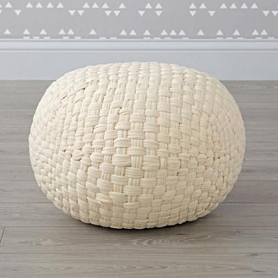 Pouf_Knit_Basketweave_White