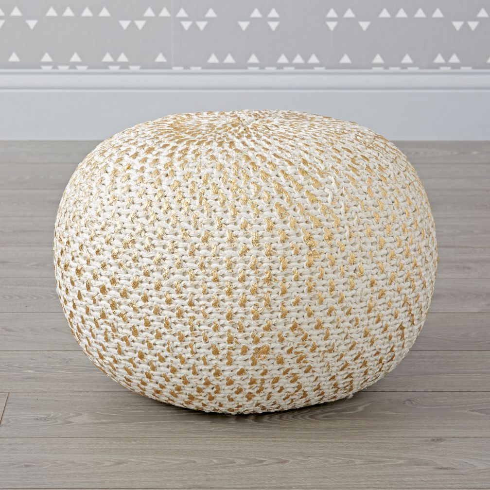 Knit Gold Pouf | The Land of Nod