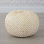 Knit Gold Pouf
