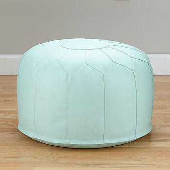 Faux Leather Mint Pouf