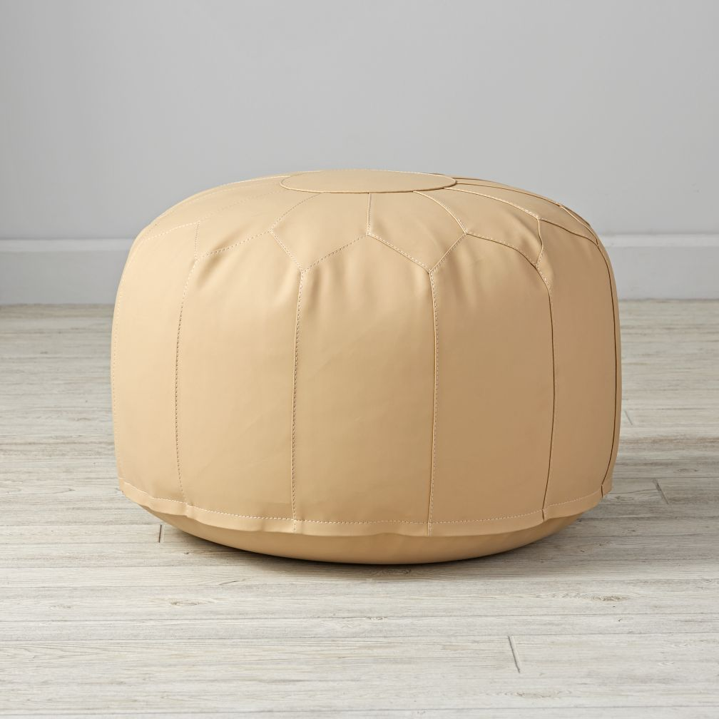Faux Leather Natural Pouf