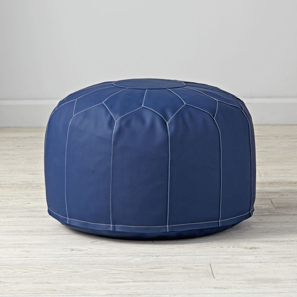 Faux Leather White Pouf | The Land of Nod