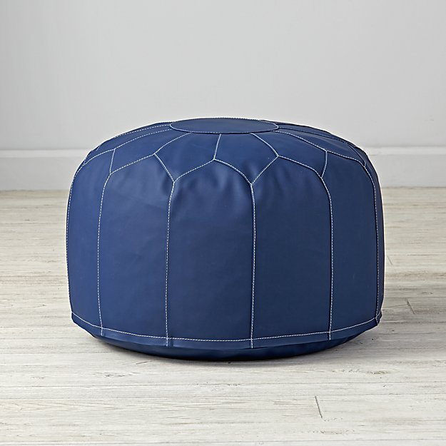 faux leather navy pouf the land of nod. Black Bedroom Furniture Sets. Home Design Ideas