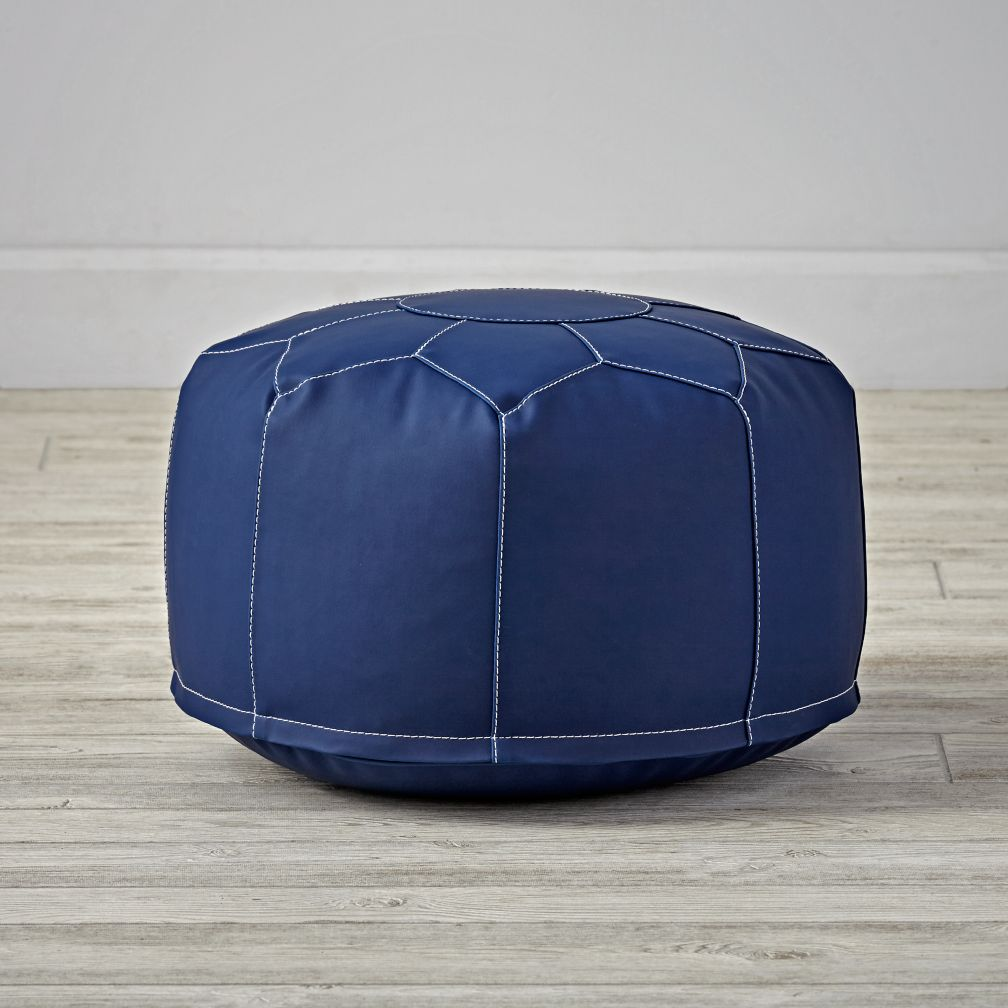 Faux Leather Navy Mini Pouf