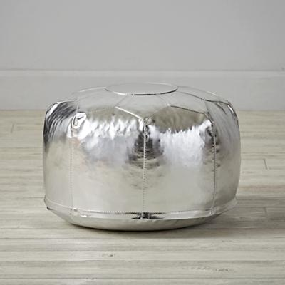 Faux Leather Silver Mini Pouf