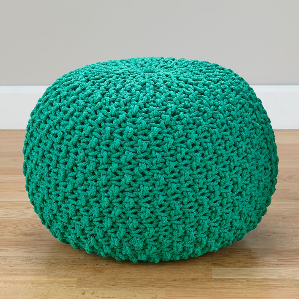 pull up a pouf green knit the land of nod. Black Bedroom Furniture Sets. Home Design Ideas