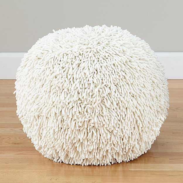 Shaggy Pouf (White)