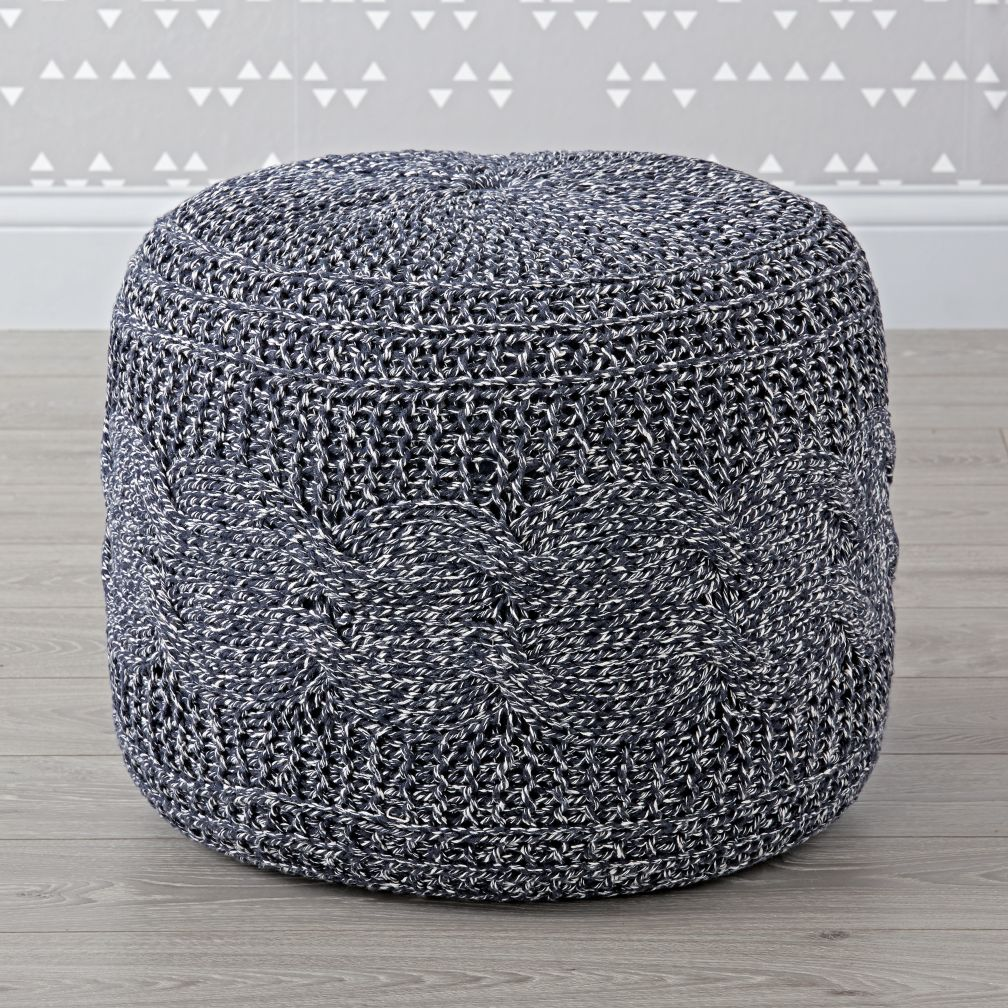 Cable Knit Pouf | The Land of Nod