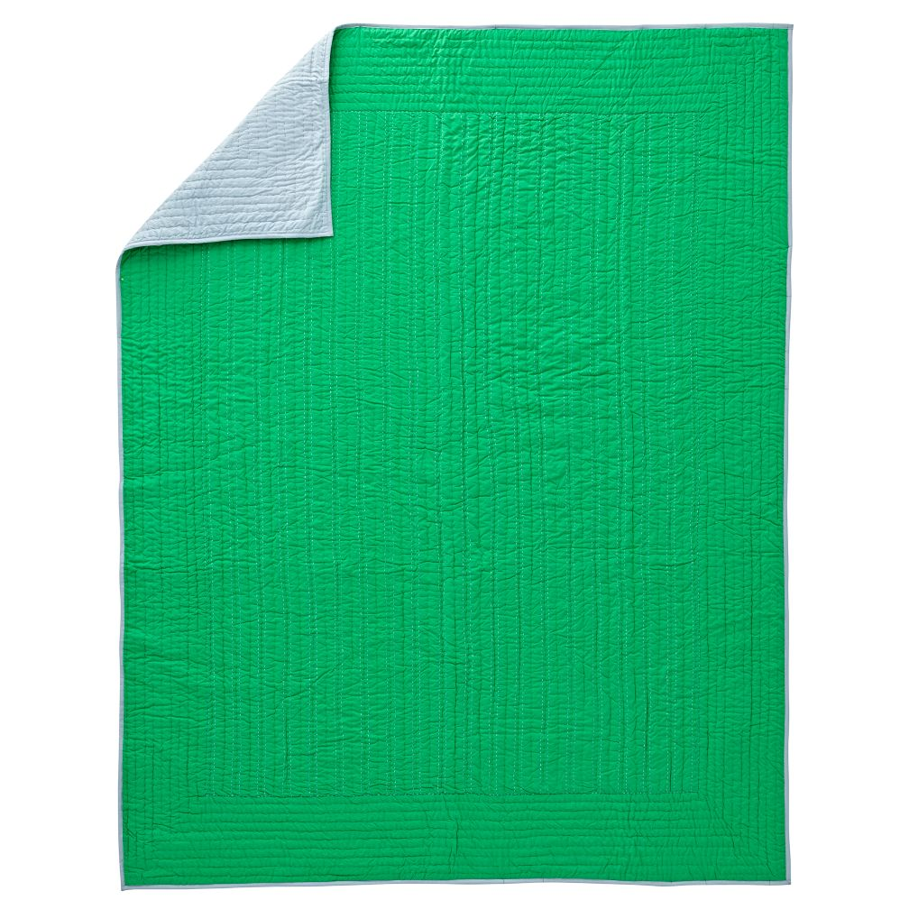 Stitched Green Twin Blanket