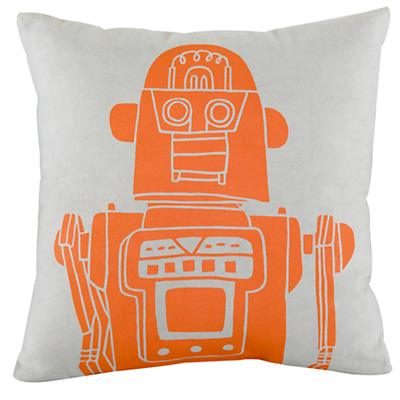 Robot Throw Pillow (Grey)