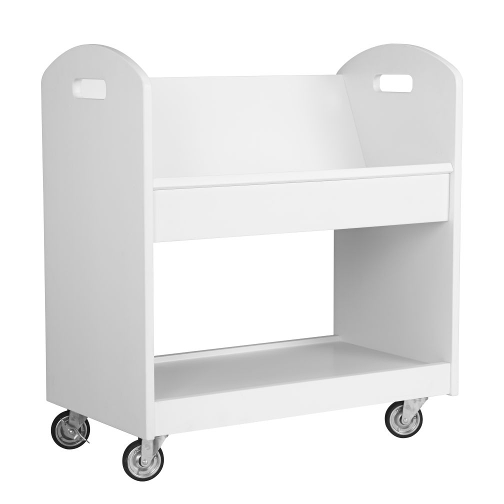 New Bookcase Toy Box White Finish Bedroom Playroom Child: Local Branch Library Cart (White)