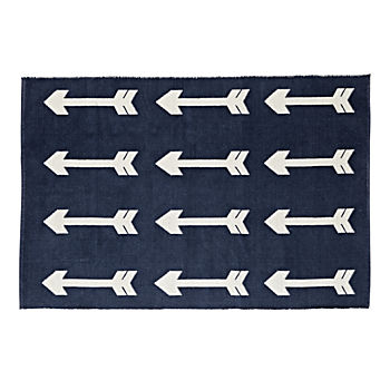 Reversible Navy Arrow 4 x 6' Rug