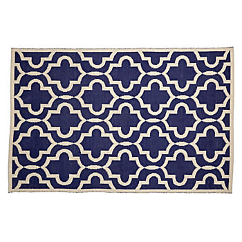4 x 6' Fretwork Navy Rug