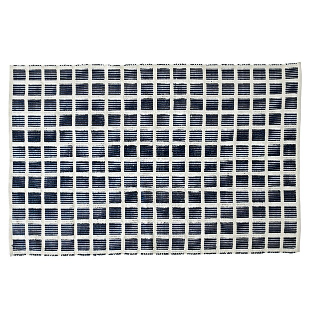 Square Navy Indoor/Outdoor Rug | The Land of Nod