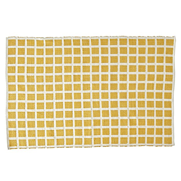 Square Yellow Indoor/Outdoor Rug | The Land of Nod