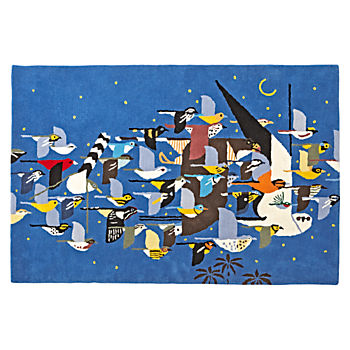 4 x 6' Charley Harper Flock of Birds Rug