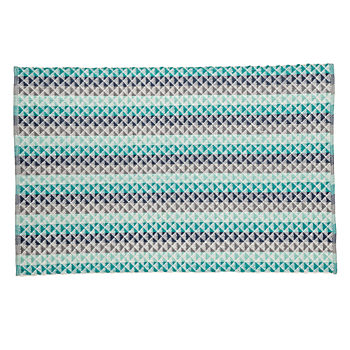 Pyramid Blue Reversible 4 x 6' Rug