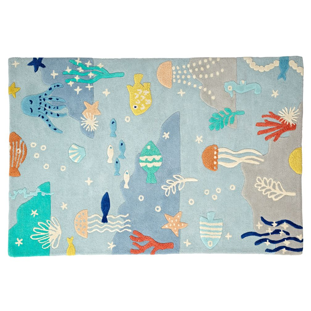 under the sea rug the land of nod. Black Bedroom Furniture Sets. Home Design Ideas