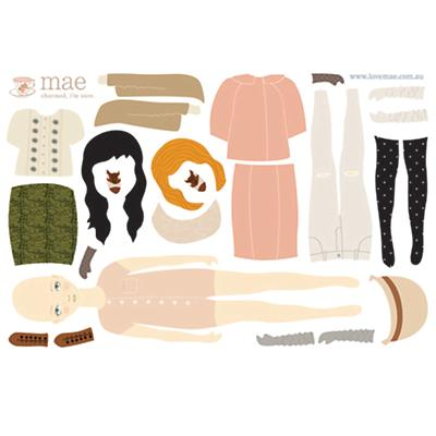 Winter Dress Up Doll Wall Decals