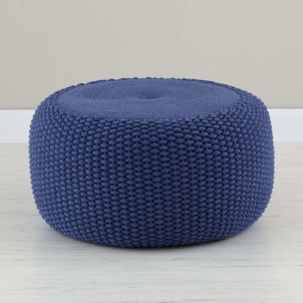 Blue Braided Pouf The Land Of Nod