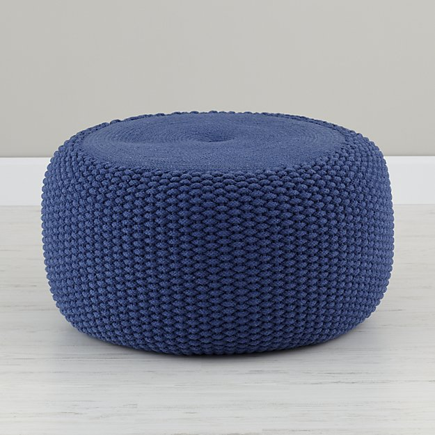 Blue Braided Pouf