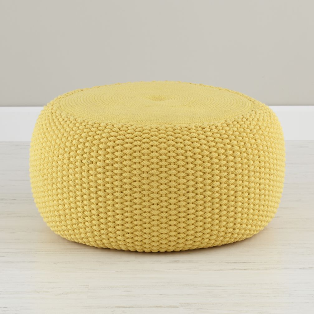 yellow braided pouf  the land of nod -