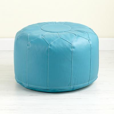 Faux Leather Pouf (Aqua)