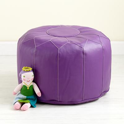 Faux Leather Purple Pouf