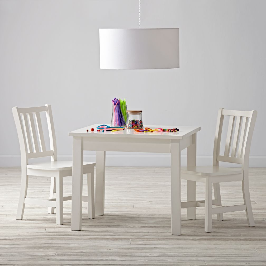 Anywhere Square White Play Table and Chairs Set The Land of Nod