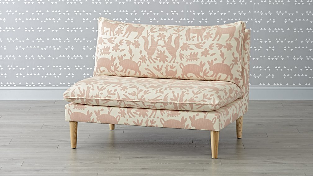 Pinata Pink Upholstered Settee