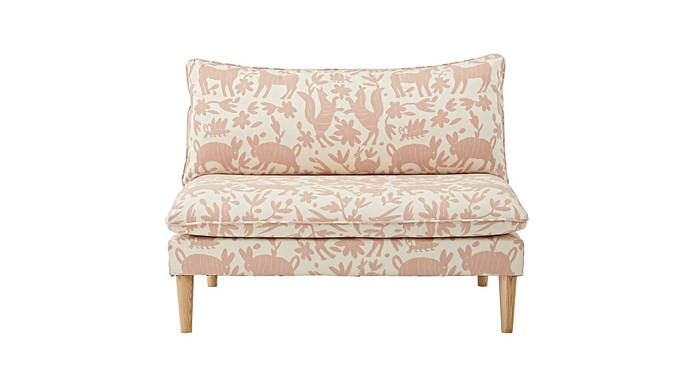Upholstered Settee (Pinata Pink)