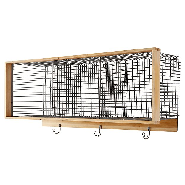 Wood and Wire 3-Cube Grey Shelf