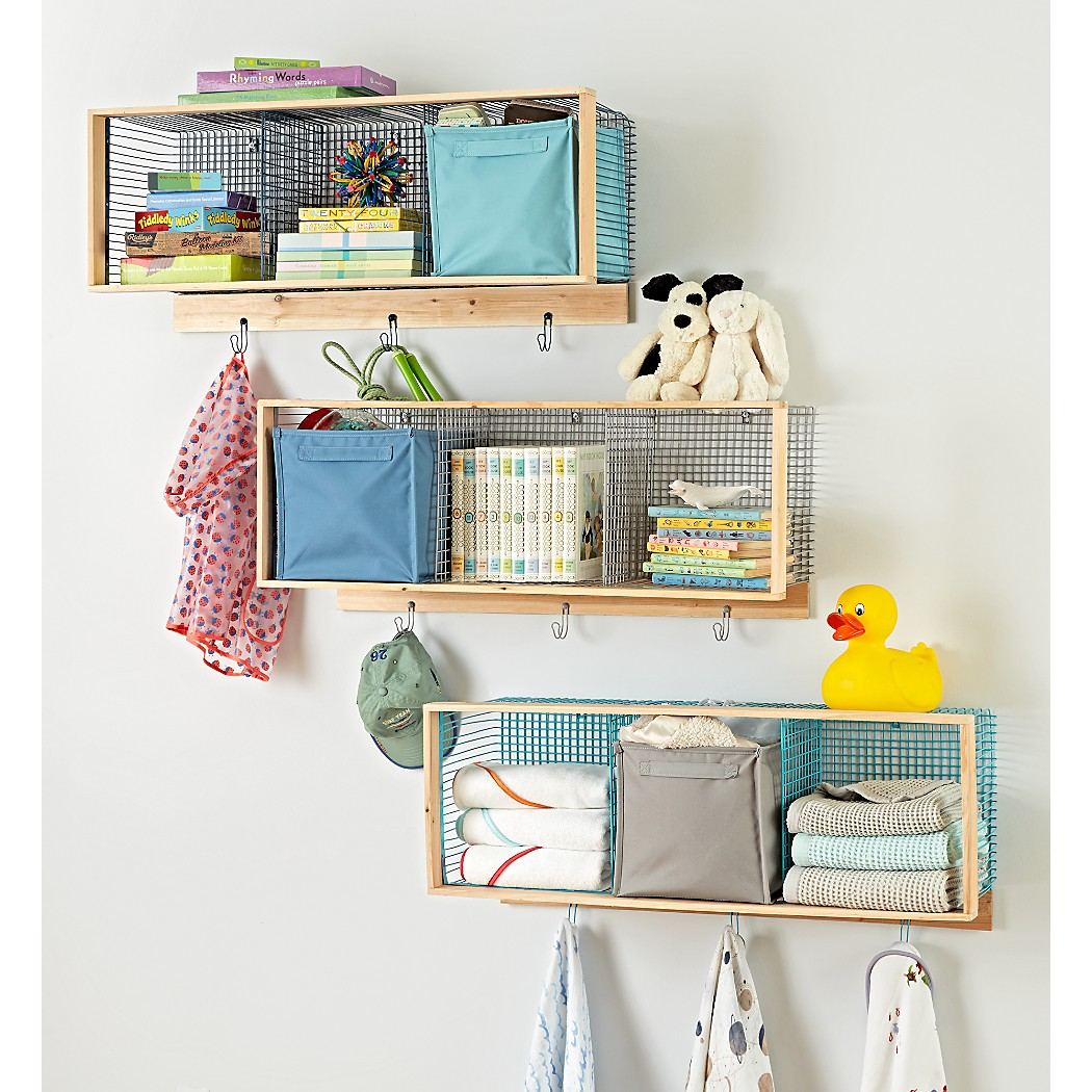 Wood and Wire Blue 3-Cube Shelf | The Land of Nod