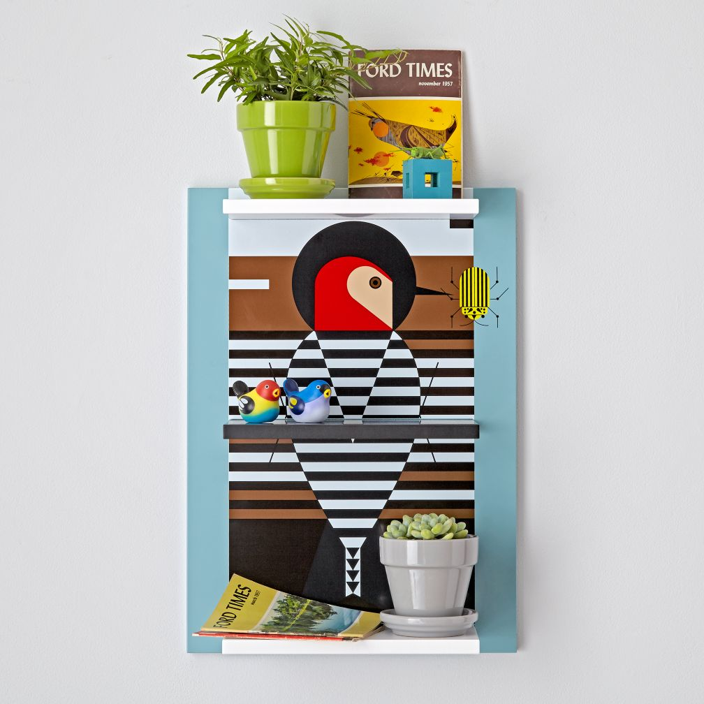 Charley Harper Baffling Belly Bird Shelf